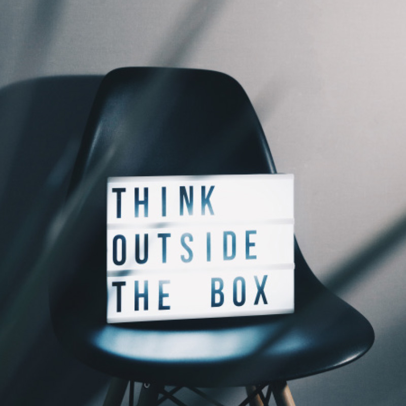 lightbox sign think outside the box chair